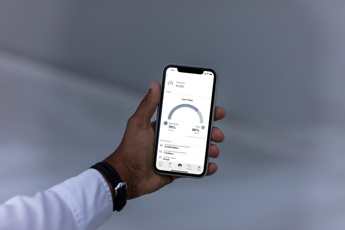 Smartphone-App Volvo On Call animiert zum elektrischen Fahren