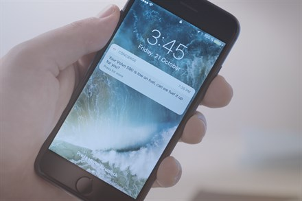 Volvo concierge services - low on fuel notification