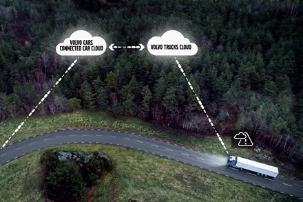 Volvo Cars and Volvo Trucks share live vehicle data to improve traffic safety