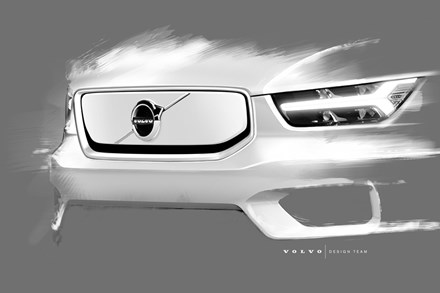 Design sketch of Volvo Cars' fully electric XC40 SUV
