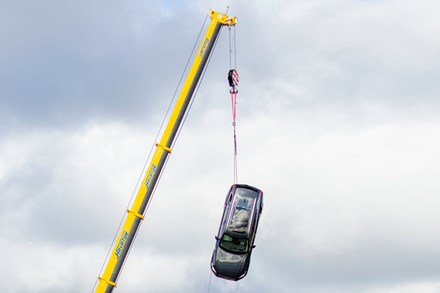 B-roll video when Volvo Cars drops new cars from 30 metres to help rescue services save lives